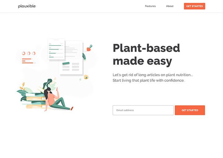 plauxible app landing page design by Quiet & Loud Design