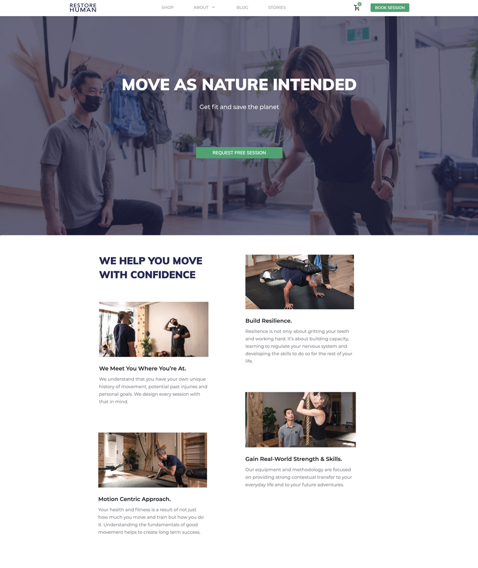 restore human home page design snippet by Quiet & Loud Design