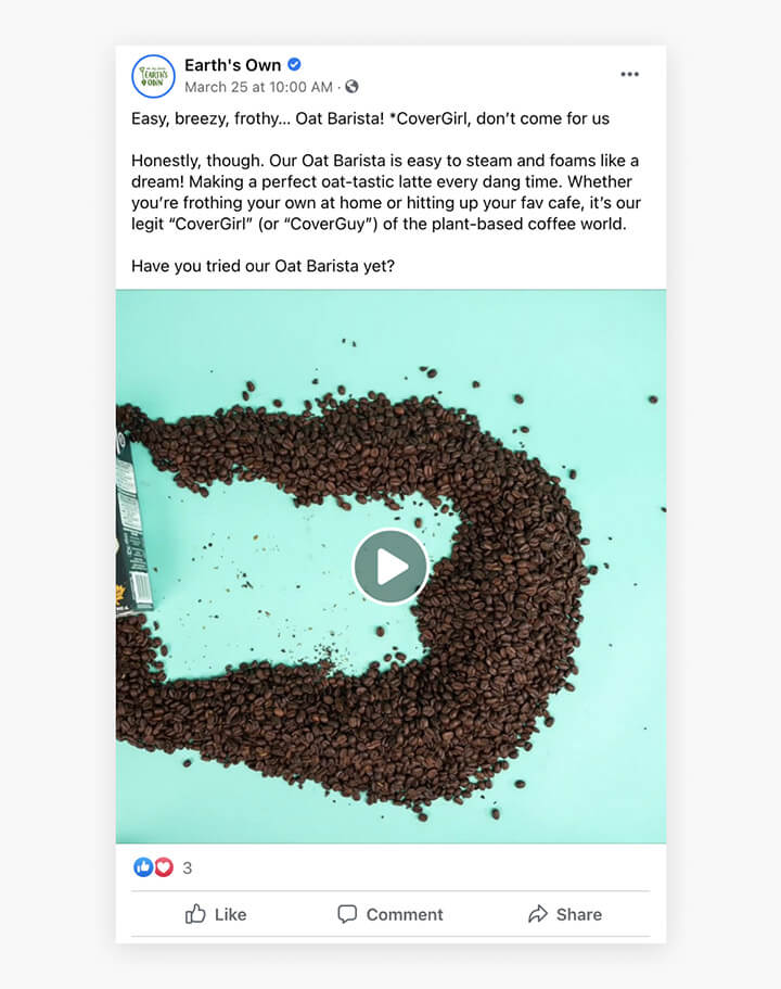 earth's own brand messaging in a facebook post