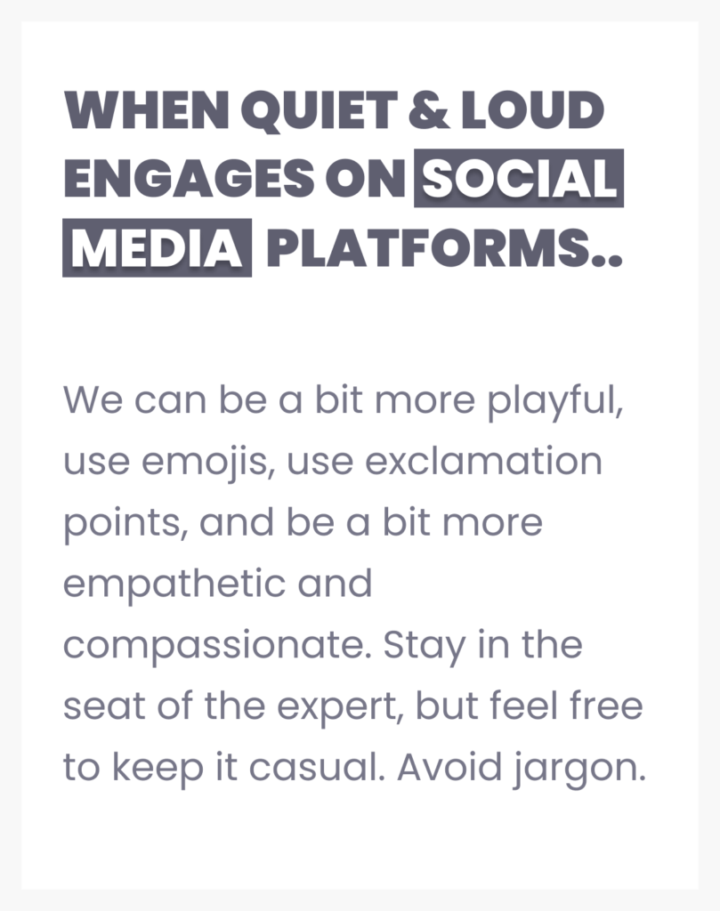 brand voice per platform printable sheet example by quiet and loud design