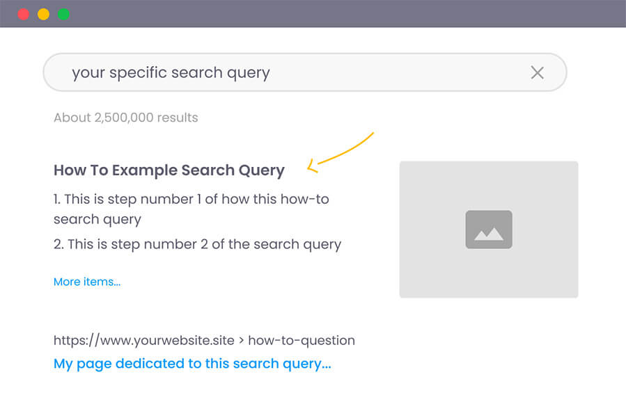 structured data feature snippet in google results illustration