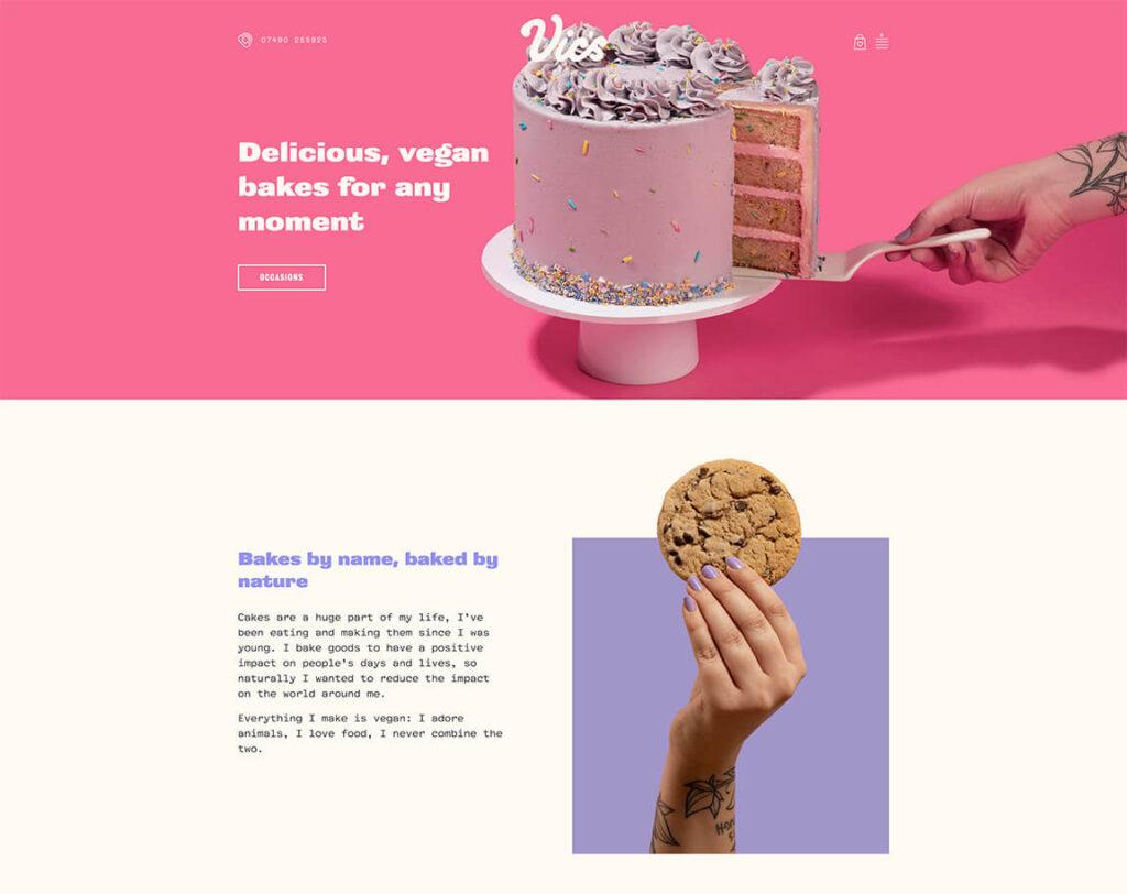 Vics vegan bakery website homepage