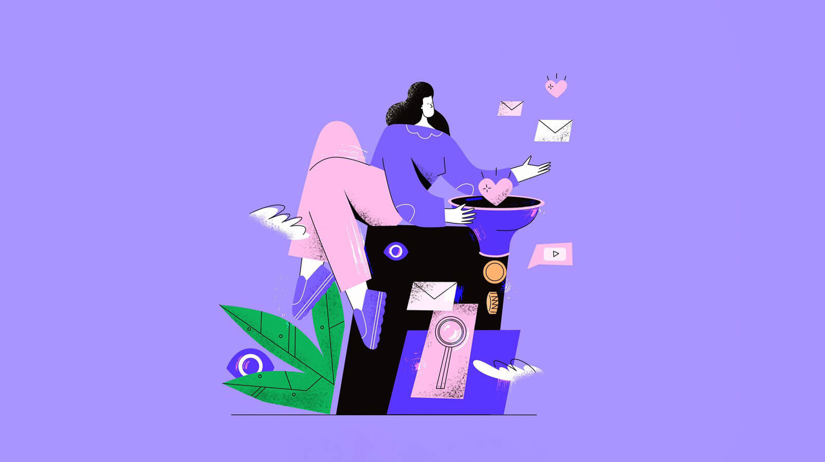 woman with purple sweater holding a marketing funnel illustration